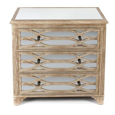 Rosehill Wooden Lattice Mirrored 3 Drawer Chest, Natural