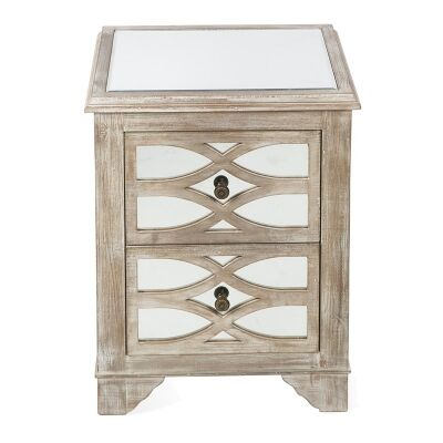 Rosehill Wooden Lattice Mirrored 2 Drawer Bedside Table, Natural