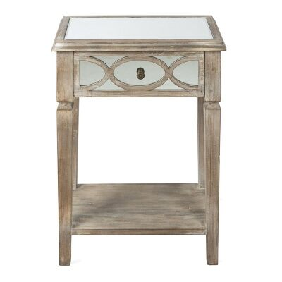 Rosehill Wooden Lattice Mirrored Single Drawer Side Table