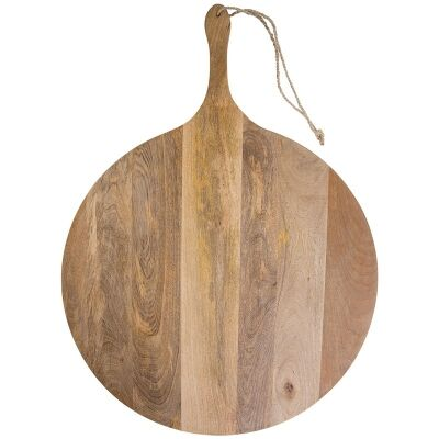 Blayney Solid Mango Wood Timbe Round Serving Board with Handle, Extra Large