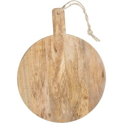 Blayney Solid Mango Wood Timber Round Serving Board with Handle - Small