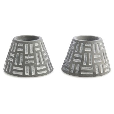 Azuca Set of 2 Cement Candle Holders - Dark Grey