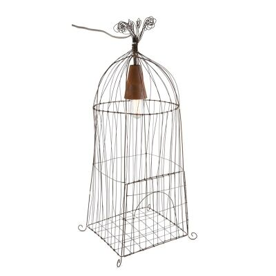 Norbury Wirework Rustic Iron Bird Cage Floor Lamp