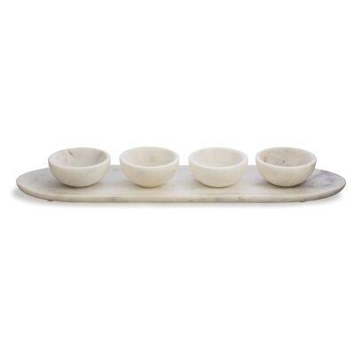 Lamia 5 Piece Marble Condiment Set - White