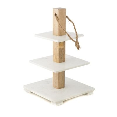 Lamia 3 Tier Marble and Timber Square Cake Stand - White/Natural
