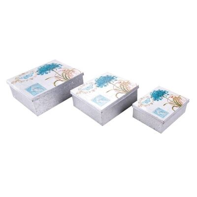 Set of 3 Flower Square Storage Boxes in Blue