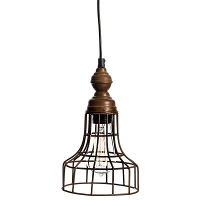 Vintage Rustic Burnt Wood Bunker Pendant Light with Iron Cage Shade