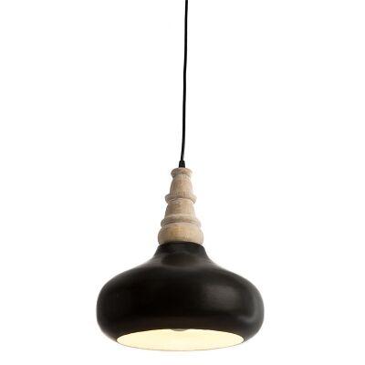 Black Iron Pendant Light with Timber Holder - Medium
