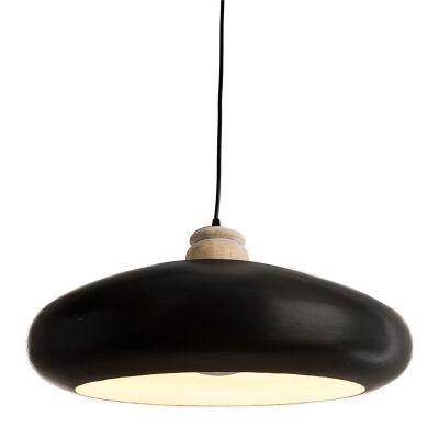 Black Iron Pendant Light with Timber Holder - Large