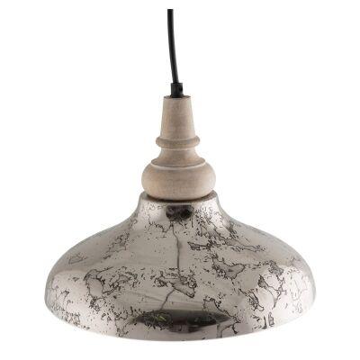 Nereus Iron Pendant Light with Wooden Top - Small