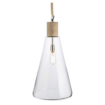 Alienor Glass Pendant Light with Mango Wood Top