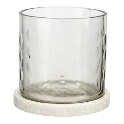 Rosamond I Marble Base Cut Glass Hurricane Lamp, Small