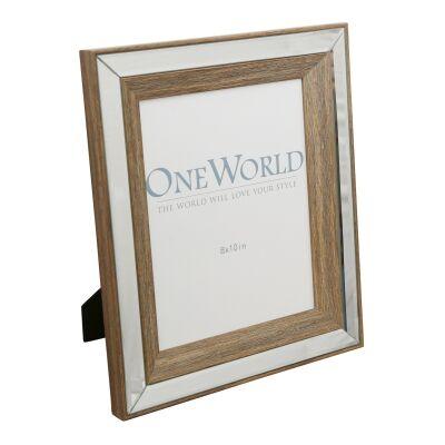"Restlea Mirrored Timber Photo Frame, 8x10"""