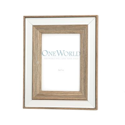 Seymour Mirrored Wooden Photo Frame, 5x7""