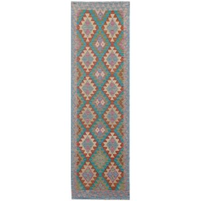 One of A Kind Ziva Hand Knotted Wool Maimana Kilim Runner Rug, 296x72cm