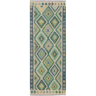 One of A Kind Maud Hand Knotted Wool Maimana Kilim Runner Rug, 204x78cm