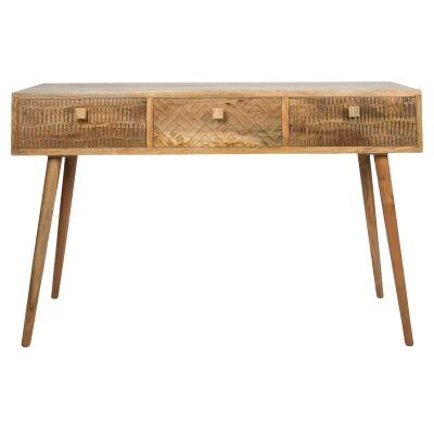 Ashanti Mango Wood 3 Drawer Console Table