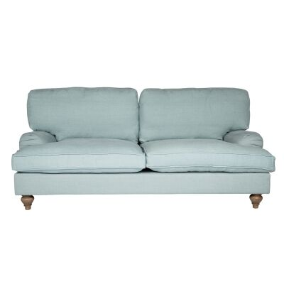Jasmine Linen Fabric Roll Arm Sofa, 2.5 Seater, Sea Mist
