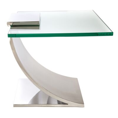 Marcus Glass Topped Stainless Steel Side Table