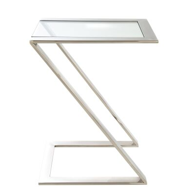 Hendrix Glass Topped Stainless Steel Side Table