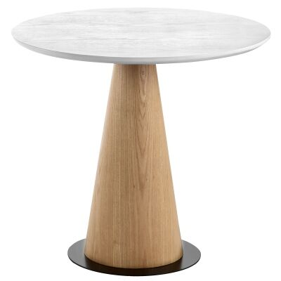 Dallin Wooden Round Coffee Table, Wide