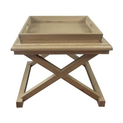 Darby Oak Timber Tray Top Side Table, Weathered Oak