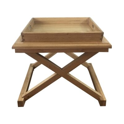 Darby Oak Timber Tray Top Side Table, Natural Oak