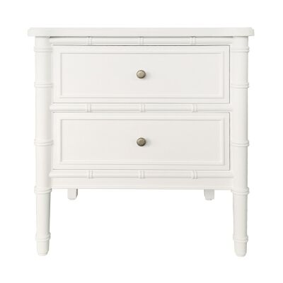 Bateau Birch Timber Side Table, White