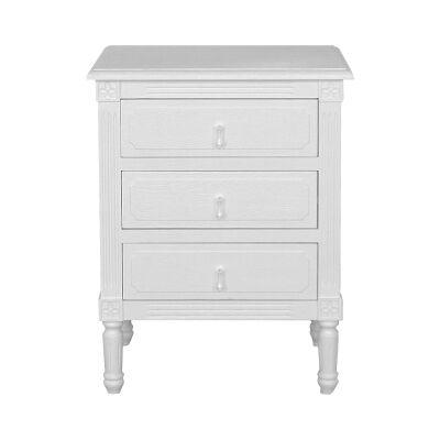 Flinders Oak Timber Bedside Table, Tear Handle, Small, White Oak
