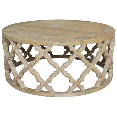 Sirah Recycled Timber Round Coffee Table, 90cm