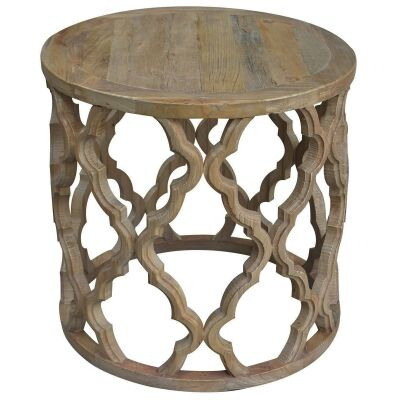 Sirah Recycled Timber Round Side Table, 60cm