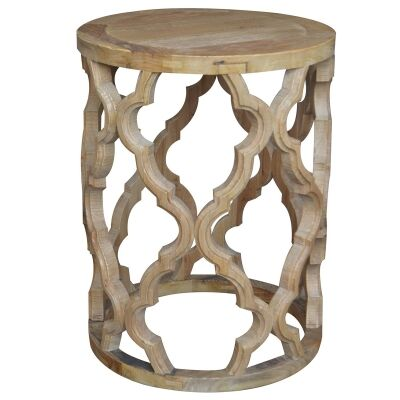 Sirah Recycled Timber Round Side Table, 45cm