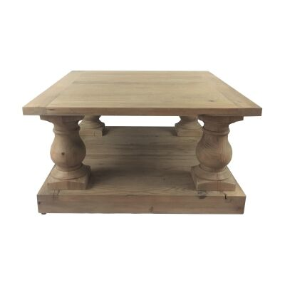 Balustrade Recycled Pine Timber Square Coffee Table, 80cm