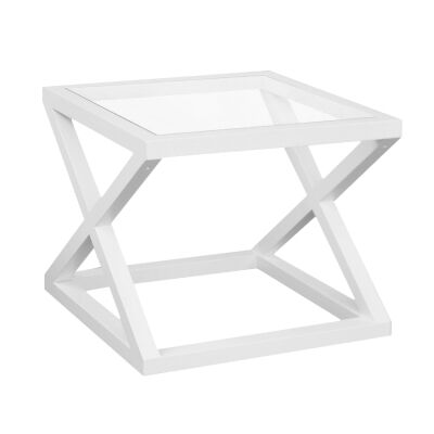 Valencia Glass Top Birch Timber Side Table, Matt White