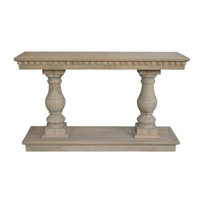 Balustrade Oak Timber Console Table, 155cm, Weathered Oak