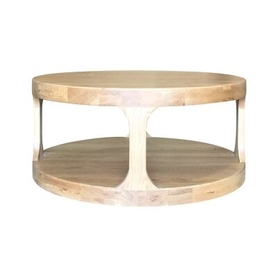 Frans Oak Timber Round Coffee Table, 92cm, Natural Oak