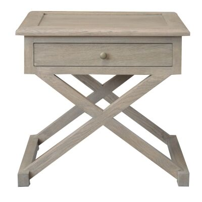 Levi Oak Timber Side Table, Large, Weathered Oak