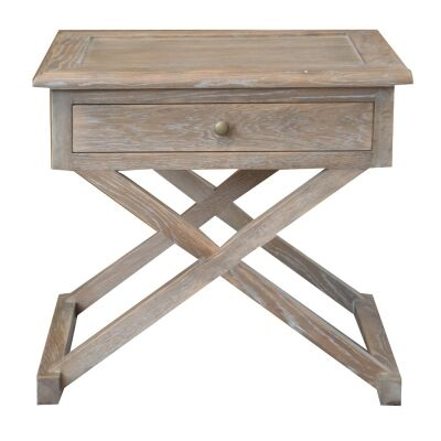 Levi Oak Timber Side Table, Large, Burnt Oak
