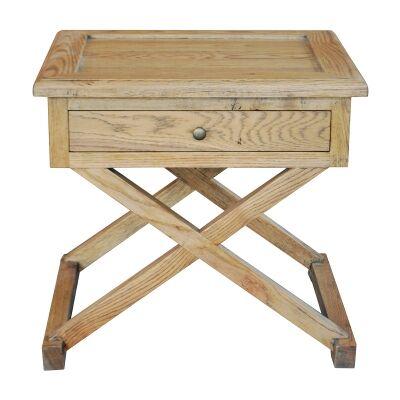 Levi Oak Timber Side Table, Large, Natural Oak