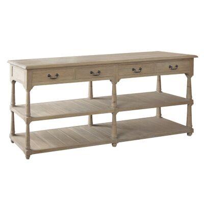 Brooklyn Oak Timber Console Table, 200cm, Weathered Oak