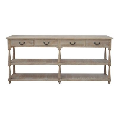 Brooklyn Oak Timber Console Table, 200cm, Lime Washed Oak