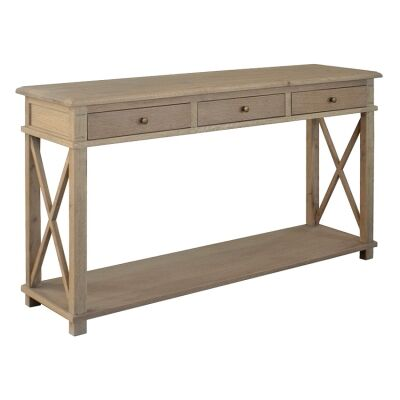 Phyllis Oak Timber 3 Drawer Console Table, 150cm, Weathered Oak