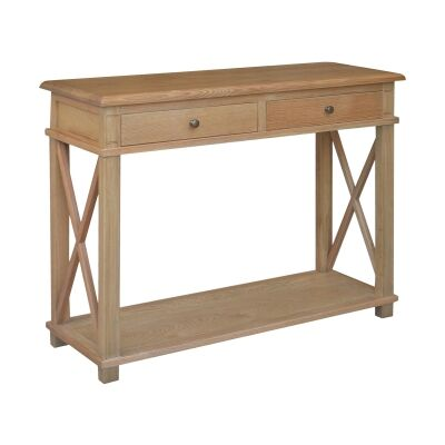Phyllis Oak Timber 2 Drawer Console Table, 110cm, Natural Oak