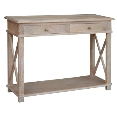 Phyllis Oak Timber 2 Drawer Console Table, 110cm, Lime Washed Oak