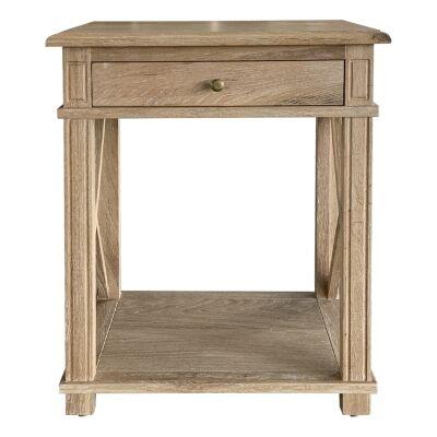 Phyllis Oak Timber Side Table, Large, Lime Washed Oak