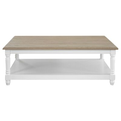 Westwood Timber Coffee Table, 120cm, Weathered Oak / White