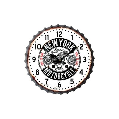 Retro Tin Bottole Cap Wall Clock, 33cm, New York Motorcycle