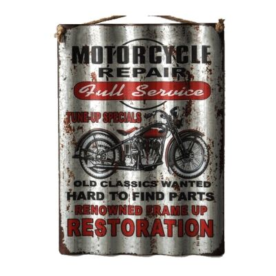 Retro Tin Corrugated Wall Plaque, Motorcycle Repair