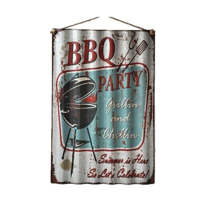 Retro Tin Corrugated Wall Plaque, BBQ Party