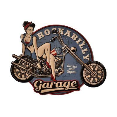 Retro Tin Wall Plaque, Rockabilly Garage